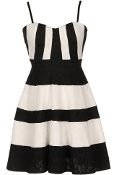 Black White Striped Textured Lace Casual Skater Dress
