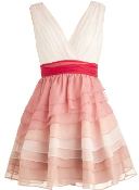 White Pink Red Silk Tiered Ombre V-Neck Bridesmaid Dress