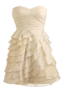 Strapless Cream Sweetheart Empire Waist Layered Homecoming Dress