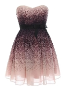 Strapless Purple Ombre Printed Sweetheart Neck Prom Dress