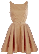 Fit And Flare Side Cut Out Button Back Skater Dress