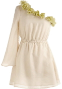 Ivory Chiffon One-Shoulder Floral Applique Asymmetrical Cinched Waist Grecian Dress