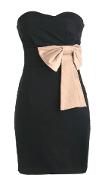 Strapless Black Sweetheart Neckline Bow Embellished Homecoming Dress
