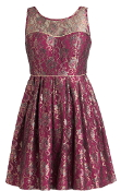 Burgundy Red Metallic Accent Sweetheart Neck Fit-And-Flare Holiday Dress