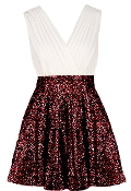 White Crossover V-Neck Red Sequin Fit-And-Flare Party Dress