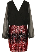 Long Sleeve Black Red Sequin New Year's Party Holiday Dress