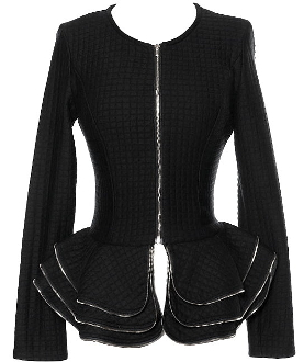 Women's Black Tiered Peplum Hem Quilted Blazer with Gold Zipper Trim