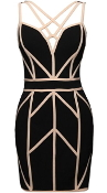 Black Beige Geometric Strappy Contrast Lines Cocktail Bandage Dress