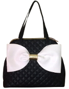 Betsey Johnson Bownanza Black White Oversized Bow Bag Quilted Designer Handbag