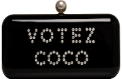 Black Chanel Embellished Votez Coco Studded Clutch