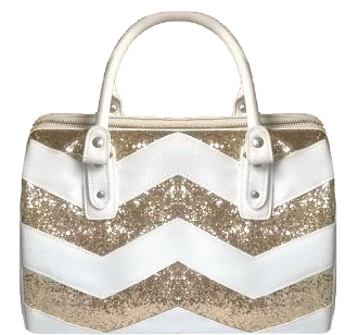 White Gold Glitter Sequin Striped Handbag Chevron Purse