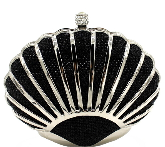 Women's Black Silver Shell Shaped Clutch Mini Purse