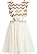 White Gold Sequin Bodice Cut Out Side Short Skater Dress