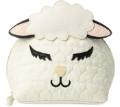 Betsey Johnson White Lamb Cosmetic Bag Designer Sheep Travel Tote