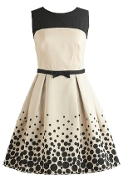 Vintage Cream Black Belted Polka Dot Fit And Flare Dress