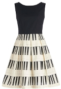 Vintage Black Ivory Piano Key Print Fit-And-Flare Skater Dress