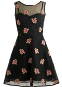Black Mesh Sweetheart Neck Floral Print Fit-And-Flare Vintage Dress