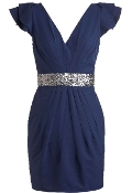 Navy Blue V-Neck Sequin Belted Flutter Sleeve Cocktail Dress