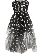 Strapless Navy Blue Sweetheart Neck Polka Dot Homecoming Dress