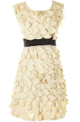 Women's Sleeveless Mocha Brown Textured Petal Applique Belted Shift Dress